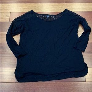 Mossimo black cut out 3/4 sleeve top XS